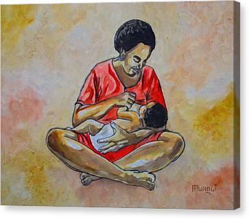 Canvas Print featuring the drawing Woman And Child by Anthony Mwangi