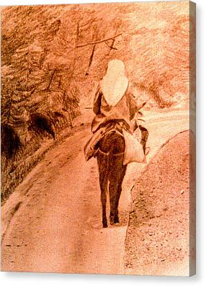 Woman And Donkey-going Home Canvas Print
