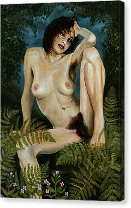 Woman And Ferns Canvas Print by Jo King