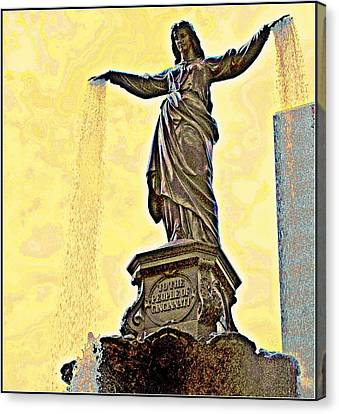 Woman And Flowing Water Sculpture At Fountain Square Canvas Print by Kathy Barney