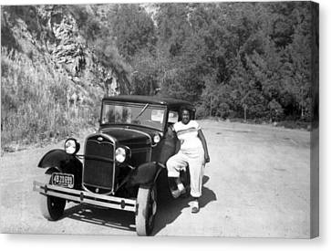 Woman And Her Model A Ford Canvas Print by Underwood Archives