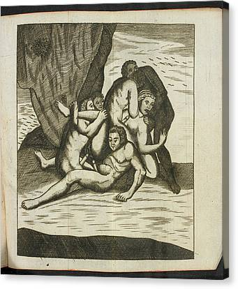 Woman And Several Men Having Sex Canvas Print by British Library