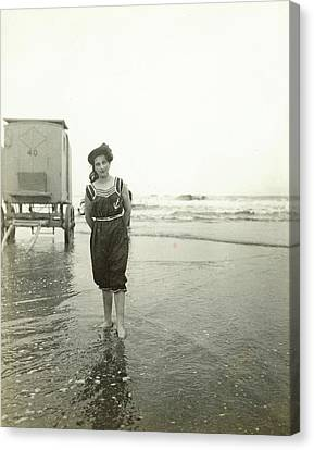 Woman At A Bathing Machine North Sea, The Netherlands Or Canvas Print