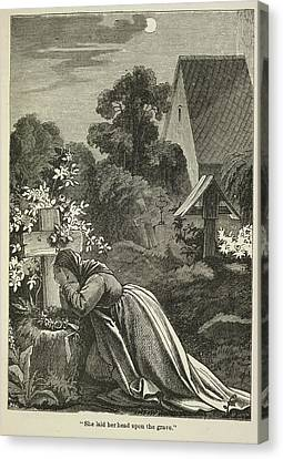 Woman At A Grave Canvas Print