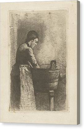 Woman At A Washtub, Gerard Jan Bos Canvas Print by Quint Lox