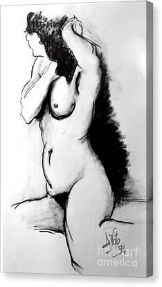Woman At Bath Canvas Print