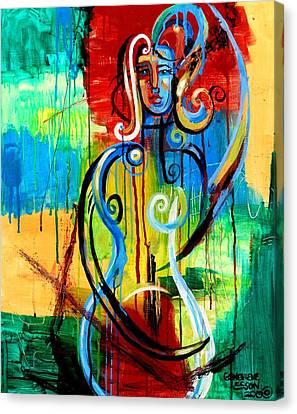 Woman Bass Canvas Print
