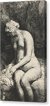 Woman Bathing Her Feet At A Brook Canvas Print