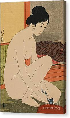 Toilet Canvas Print - Woman Bathing Taisho Era by Goyo Hashiguchi