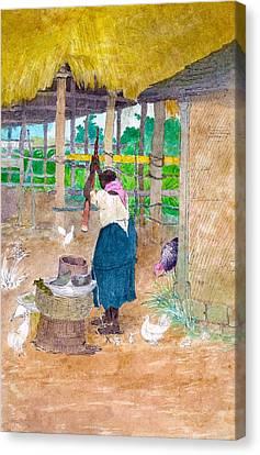 Woman Beating Cassava Jamaica Canvas Print by William Berryman