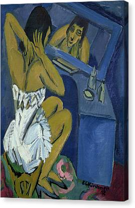 Woman Before The Mirror Canvas Print by Ernst Ludwig Kirchner