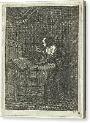 Glowing Canvas Print - Woman Blowing At A Candle, Jan Luyken, Pieter Arentsz II by Jan Luyken And Pieter Arentsz Ii