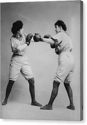 Woman Boxing Canvas Print by Bill Cannon