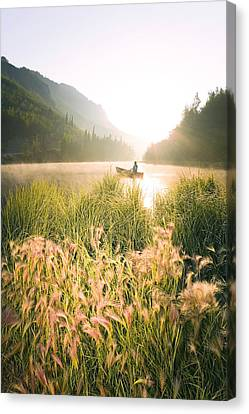Matanuska Canvas Print - Woman Canoeing On Long Lake In Early by Michael DeYoung