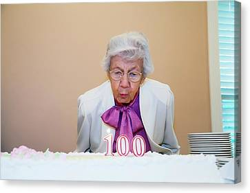 Woman Celebrating Her 100th Birthday Canvas Print by Jim West