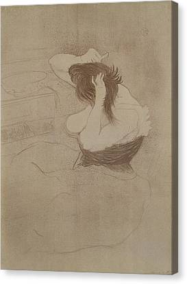 Woman Combing Her Hair Canvas Print - Woman Combing Her Hair, From Elles, 1896 by Henri de Toulouse-Lautrec