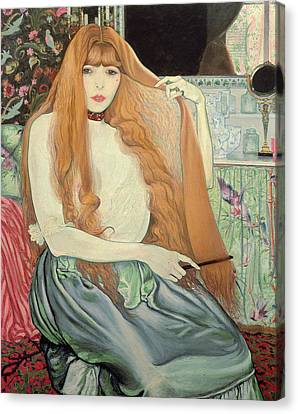 Woman Combing Her Hair Canvas Print by Louis Anquetin
