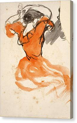 Woman Combing Her Hair Canvas Print - Woman Combing Her Hair by Ricard Canals
