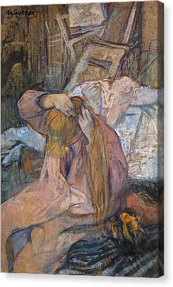 Woman Combing Her Hair Canvas Print - Woman Combing Her Hair by Toulouse-Lautrec