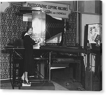 Woman Demonstrates 1930 Copier Canvas Print by Underwood Archives
