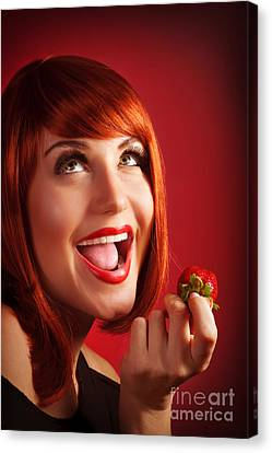 Woman Eat Strawberry Canvas Print by Anna Om