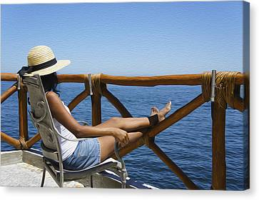 Woman Enjoying The View  Canvas Print by Aged Pixel