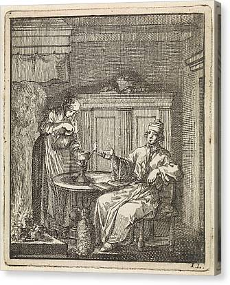 Woman Fills A Burning Oil Lamp, Jan Luyken Canvas Print