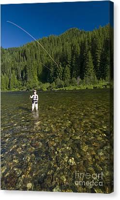 Woman Fly Fishing, Kelly Creek Canvas Print