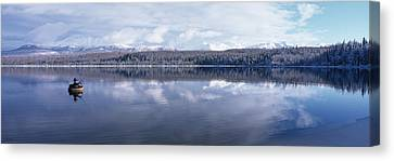 Woman Flyfishing From Float Tube Otter Canvas Print by Michael DeYoung