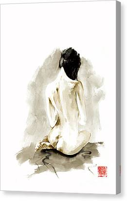 Geisha Girl Canvas Print - Woman Geisha Erotic Act Japanese Ink Painting by Mariusz Szmerdt