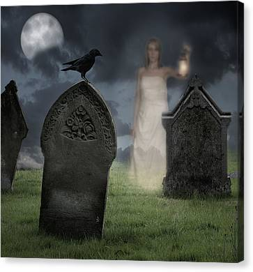 Moonlit Canvas Print - Woman Haunting Cemetery by Amanda Elwell