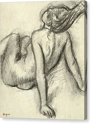 Woman Having Her Hair Styled Canvas Print by Edgar Degas