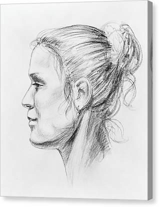 Woman Head Canvas Print - Woman Head Study by Irina Sztukowski
