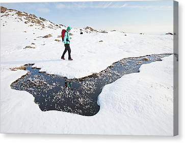 Woman Hill Walker By A Frozen Bog Canvas Print by Ashley Cooper