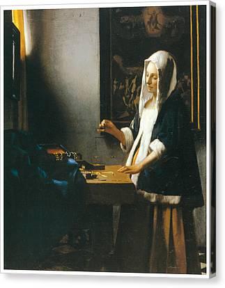 Woman Holding A Balance Canvas Print - Woman Holding A Balance by Johannes Vemeer