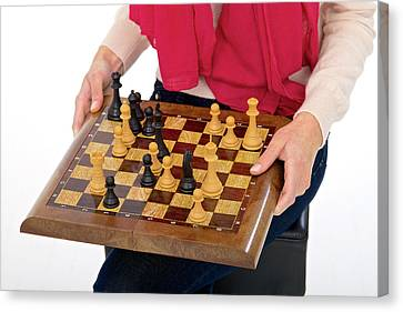 Woman Holding Chess Board Canvas Print