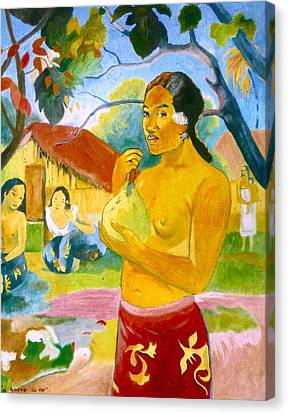 Woman Holding Fruit Canvas Print by Henryk Gorecki