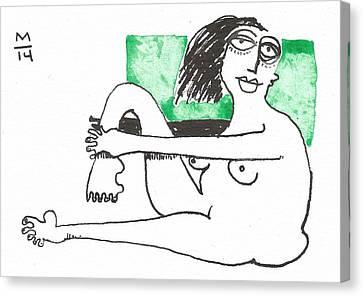 Woman Holding Leg Green  Canvas Print