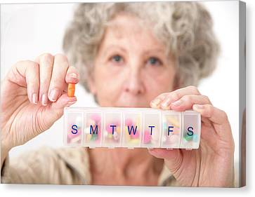 Woman Holding Pill And Pill Container Canvas Print