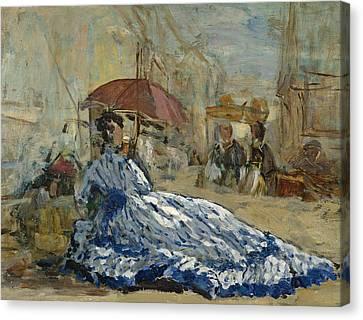 Woman In A Blue Dress Under A Parasol Canvas Print