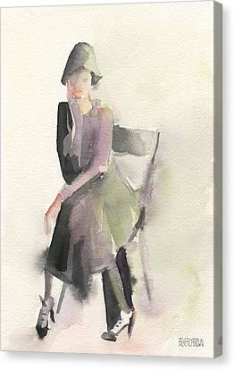 Woman In A Cloche Hat Watercolor Fashion Illustration Art Print Canvas Print by Beverly Brown