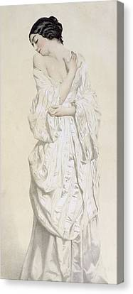 Woman In A Dressing Gown Canvas Print by French School