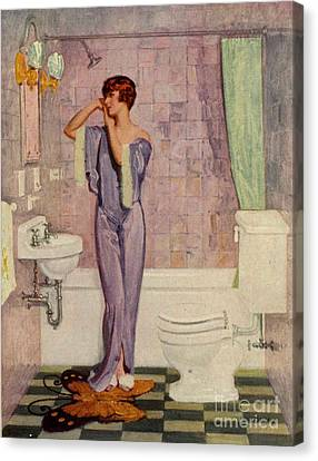 Woman In Bathroom 1930s Uk Cc Cc Canvas Print by The Advertising Archives