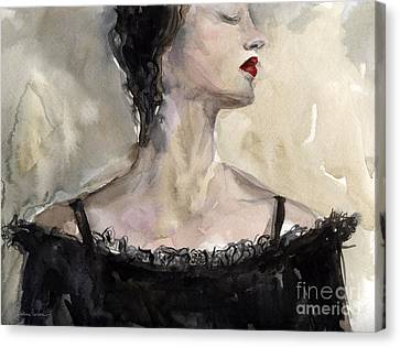 Woman In Black Watercolor Portrait Canvas Print by Svetlana Novikova