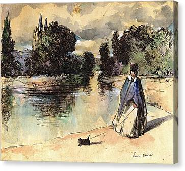 Dog Walking Canvas Print - French Woman Walking Dog Influenced By Past Master by Victoria Stavish