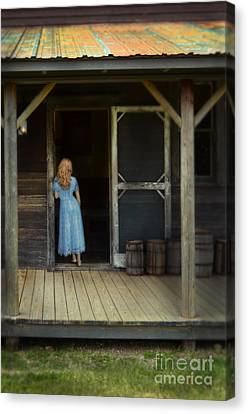 Woman In Cabin Doorway Canvas Print by Jill Battaglia
