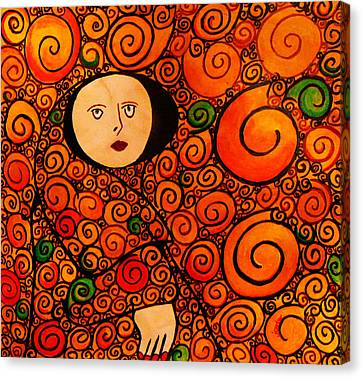 Woman In Circles Canvas Print by Celestial Images