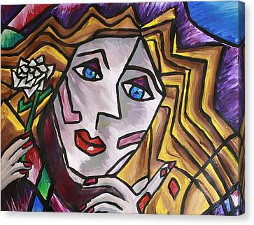 Woman In Cubism Canvas Print by Rebecca Schoof