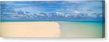 Woman In Distance On Sandbar, Aitutaki Canvas Print