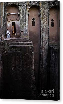 Woman In Lalibella Ethiopia Rock African Coptic Churches Canvas Print